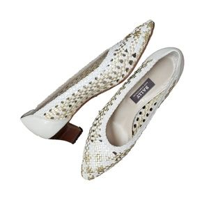 Bally Shoes - Bally Vintage LeatherWoven White and Gold Slip Ons